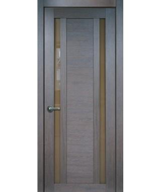Дверь с ПВХ покрытием 15К (Филадельфия Дуб Шоколад, Стекло Бронза)