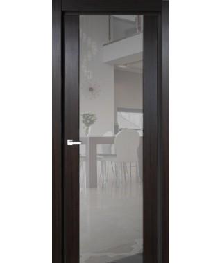 Дверь с ПВХ покрытием 1К (Темный Венге, Триплекс светлое)