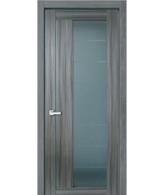 Дверь с ПВХ покрытием 47К (Филадельфия Дуб Графит, Стекло матовое)