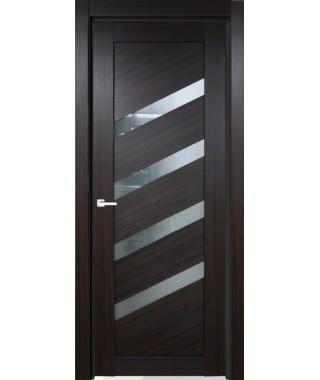Дверь с ПВХ покрытием 5К (Темный Венге, стекло матовое)