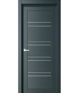 Дверь с ПВХ покрытием 75К (Графит, Стекло Матовое)