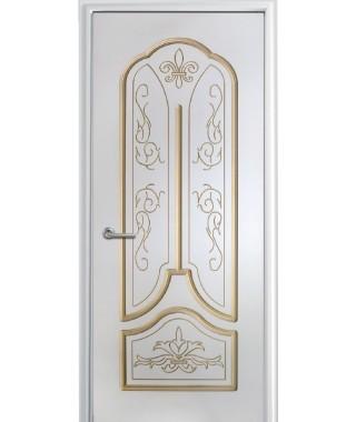 Дверь с ПВХ покрытием Александрия ДГ (Софт белый/патина)