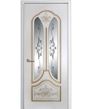 Дверь с ПВХ покрытием Александрия ДО (Софт белый/патина)