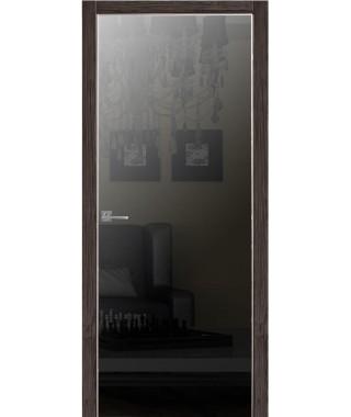 Дверь Альфа 1 с алюминиевой кромкой (Зеркало графит)