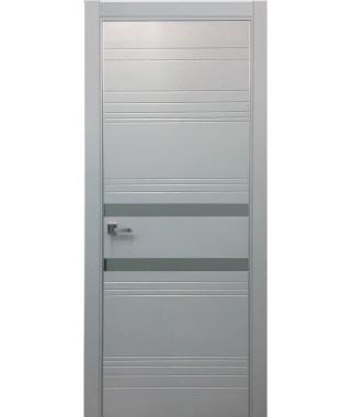 Дверь Альфа 17 с алюминиевой кромкой (Зеркало серое)