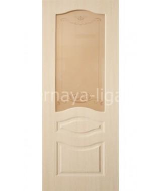 Дверь с ПВХ покрытием Леона ДО (Беленый дуб)