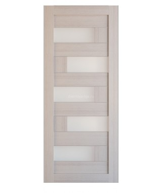 Дверь из экошпона Домино Капучино (белое стекло)