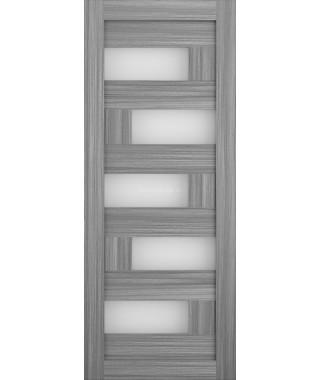 Дверь из экошпона Домино Дуб пепельный (белое стекло)