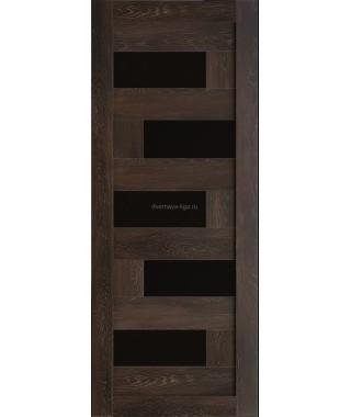 Дверь из экошпона Домино Шале мореный (черное стекло)
