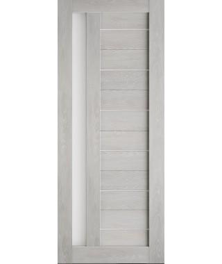 Дверь из экошпона Техно 11 Шале серый (белое стекло)