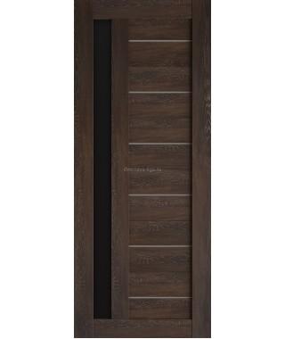 Дверь из экошпона Техно 11 Шале мореный (черное стекло)
