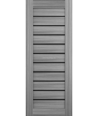 Дверь из экошпона Техно 12 Дуб пепельный (черное стекло)