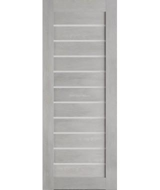 Дверь из экошпона Техно 12 Шале серый (белое стекло)
