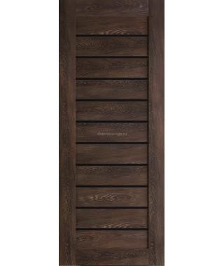 Дверь из экошпона Техно 12 Шале мореный (черное стекло)