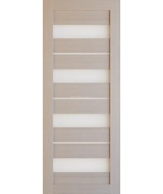 Дверь из экошпона Техно 15 Капучино (белое стекло)