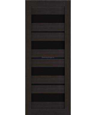 Дверь из экошпона Техно 15 Темный орех (черное стекло)