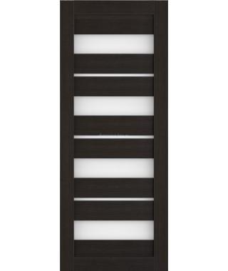 Дверь из экошпона Техно 15 Темный орех (белое стекло)
