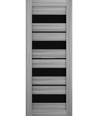 Дверь из экошпона Техно 15 Дуб пепельный (черное стекло)