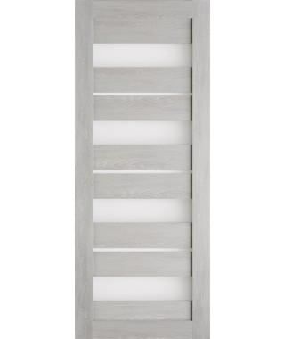 Дверь из экошпона Техно 15 Шале серый (белое стекло)