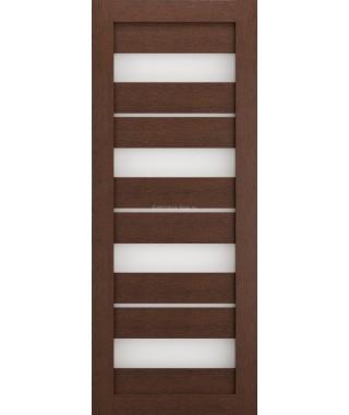 Дверь из экошпона Техно 15 Ясень коричневый (белое стекло)