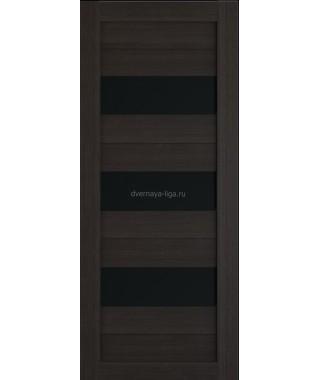 Дверь из экошпона Техно 3 Орех темный (черное стекло)