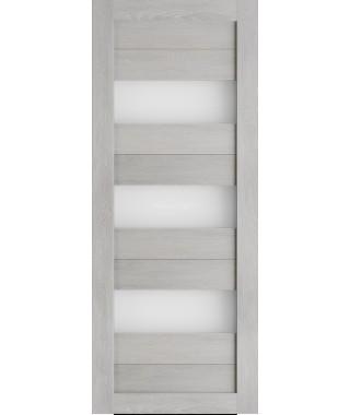 Дверь из экошпона Техно 3 Шале серый (белое стекло)