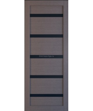 Дверь из экошпона Техно 5 Дуб серый (черное стекло)