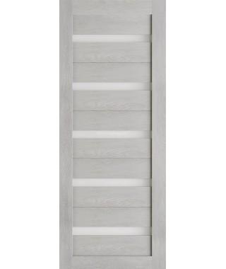 Дверь из экошпона Техно 5 Шале серый (белое стекло)