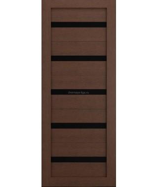 Дверь из экошпона Техно 5 Ясень коричневый (черное стекло)