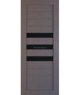 Дверь из экошпона Техно 7 Дуб серый (черное стекло)