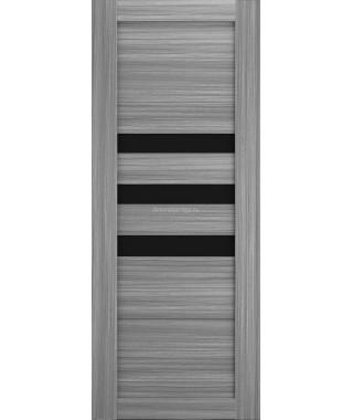 Дверь из экошпона Техно 7 Дуб пепльный (черное стекло)