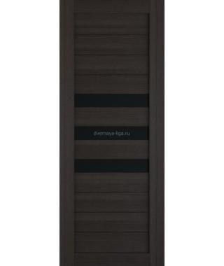 Дверь из экошпона Техно 7 Орех темный (черное стекло)