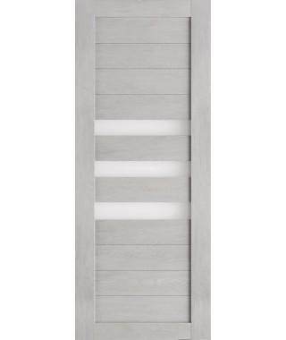 Дверь из экошпона Техно 7 Шале серый (белое стекло)