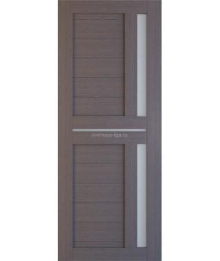 Дверь из экошпона Техно 9 Дуб серый (белое стекло)