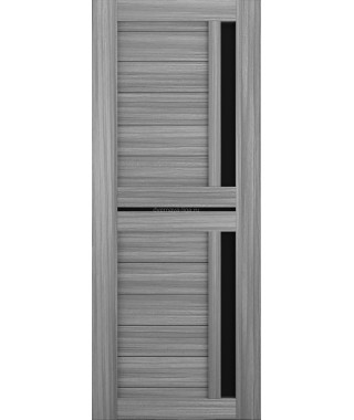 Дверь из экошпона Техно 9 Дуб пепельный (черное стекло)