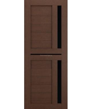 Дверь из экошпона Техно 9 (Ясень коричневый черное стекло)