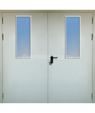 Дверь стальная противопожарная ДПМО-02 (EI30 EI-60) RAL 7035 два стекла